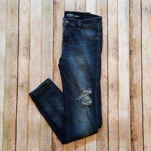 Dark Distressed Skinny Jean Leggings